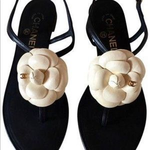 47f1eed15 Chanel Black + Cream Ankle Strap Leather Sandals